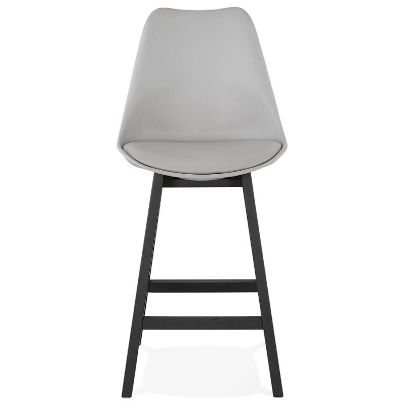 Tabouret de bar chaise de bar mi-hauteur design pieds noirs DYLAN MINI (gris clair) - image 46296