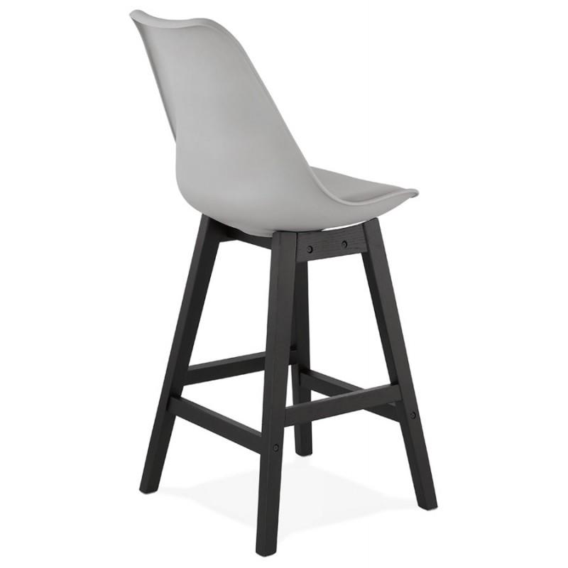 Tabouret de bar chaise de bar mi-hauteur design pieds noirs DYLAN MINI (gris clair) - image 46298
