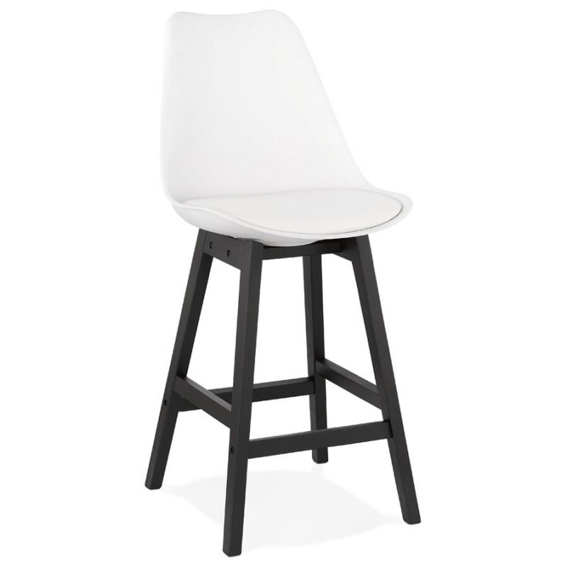 Tabouret de bar chaise de bar mi-hauteur design pieds noirs DYLAN MINI (blanc)
