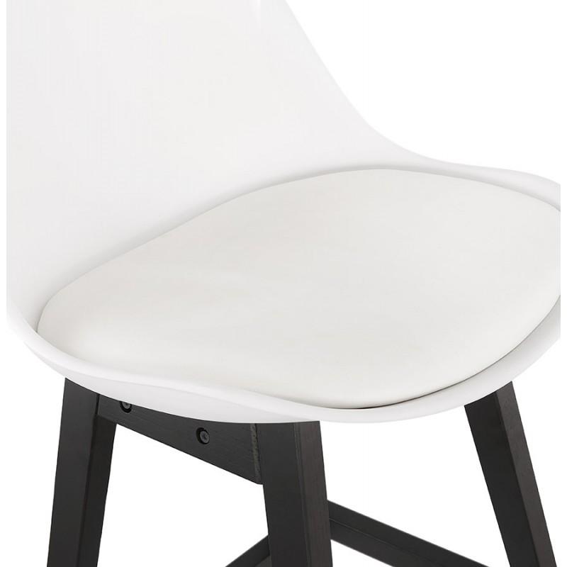Tabouret de bar chaise de bar mi-hauteur design pieds noirs DYLAN MINI (blanc) - image 46310
