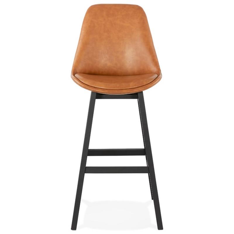 Tabouret de bar design chaise de bar pieds noirs DAIVY (marron clair) - image 46326