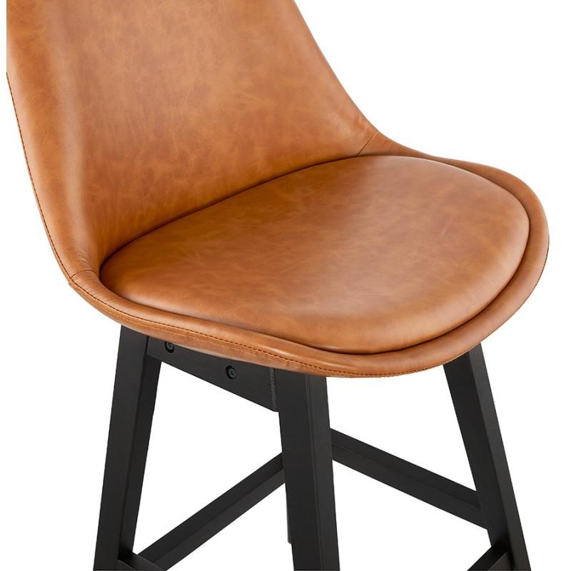 Tabouret de bar design chaise de bar pieds noirs DAIVY (marron clair) - image 46330