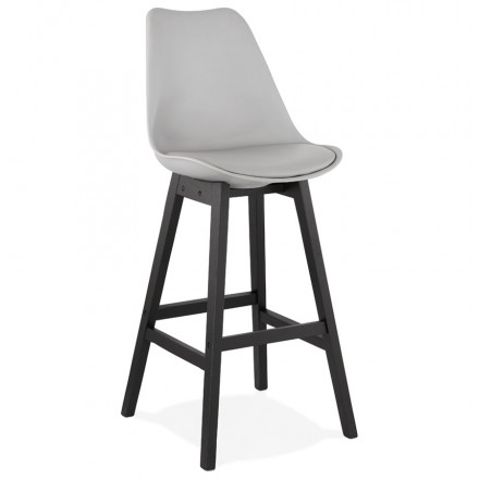 Bar stool bar chair black feet DYLAN (light gray)