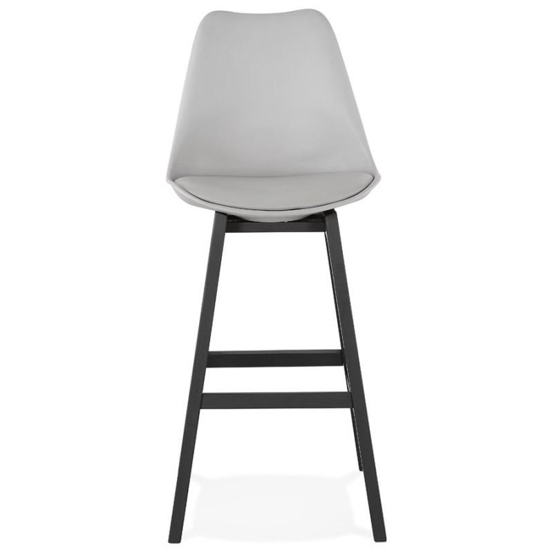 Tabouret de bar chaise de bar pieds noirs DYLAN (gris clair) - image 46345