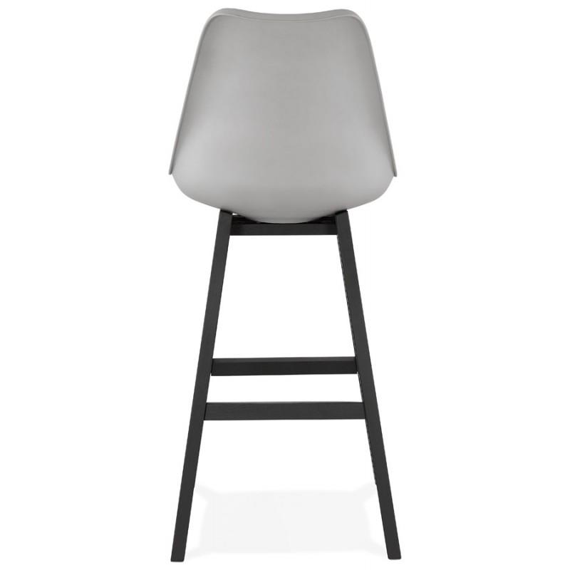 Tabouret de bar chaise de bar pieds noirs DYLAN (gris clair) - image 46348
