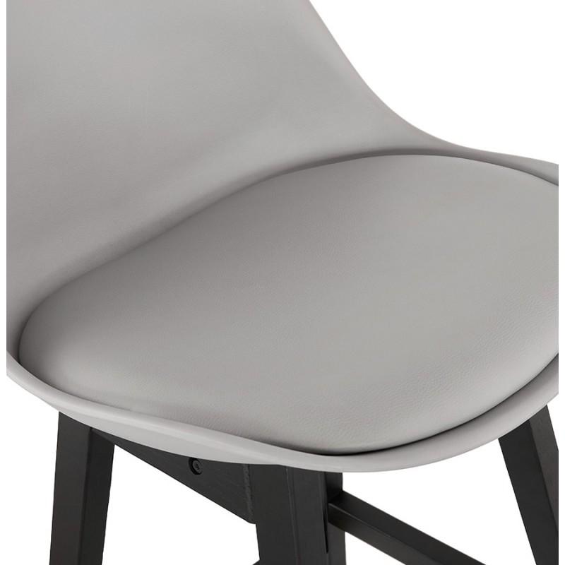 Tabouret de bar chaise de bar pieds noirs DYLAN (gris clair) - image 46349