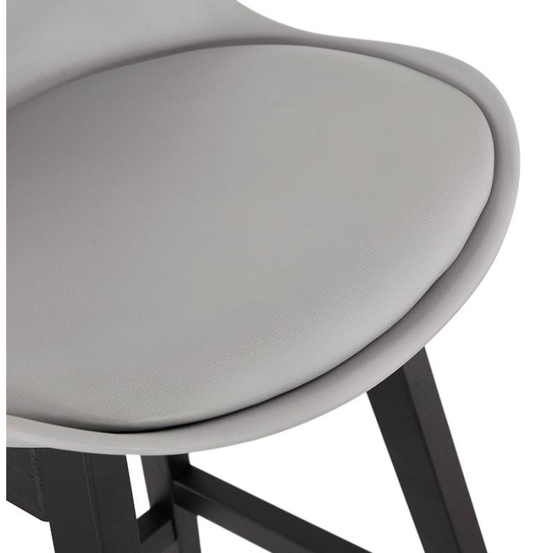 Tabouret de bar chaise de bar pieds noirs DYLAN (gris clair) - image 46350