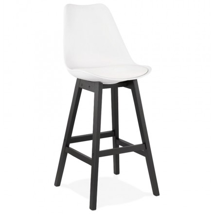 Bar stool bar chair black feet DYLAN (white)