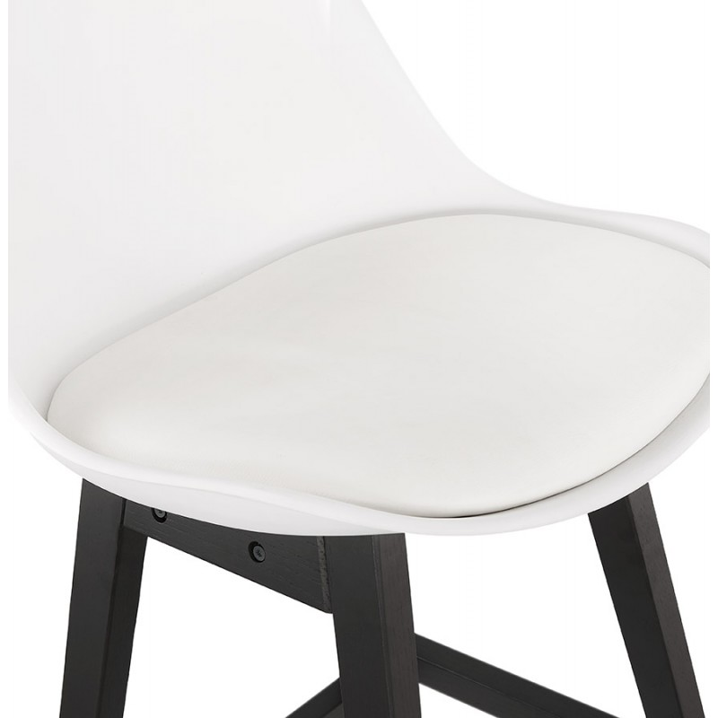 Tabouret de bar chaise de bar pieds noirs DYLAN (blanc) - image 46358