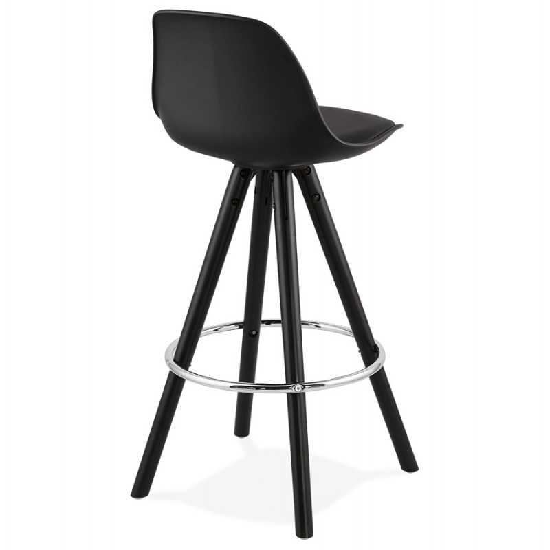 Tabouret de bar mi-hauteur design pieds noirs OCTAVE MINI (noir) - image 46374