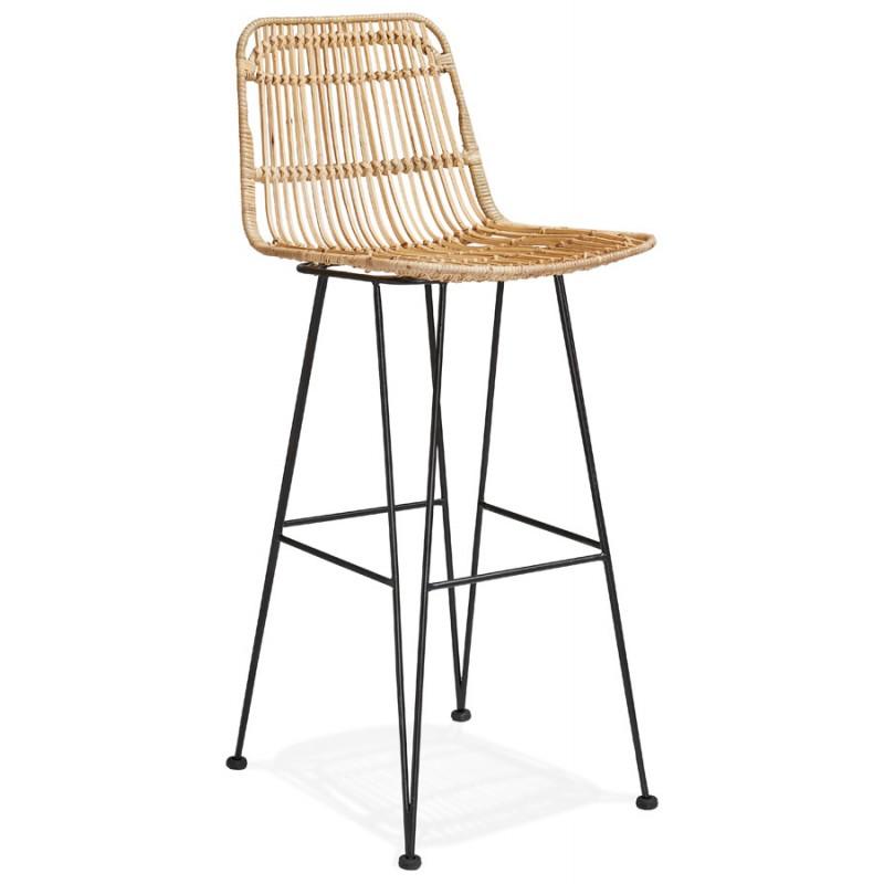 Tabouret de bar chaise de bar en rotin pieds noirs PRETTY (naturel) - image 46405
