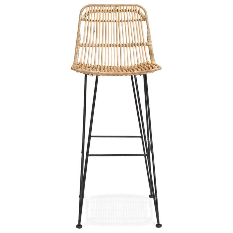 Tabouret de bar chaise de bar en rotin pieds noirs PRETTY (naturel) - image 46406