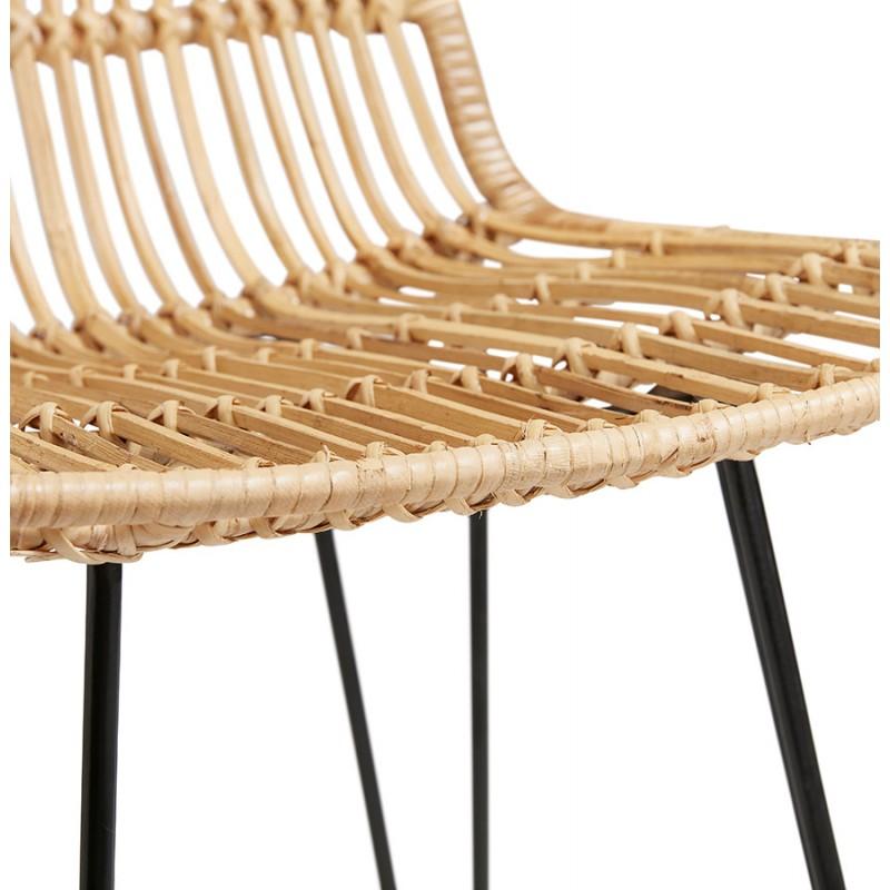 Tabouret de bar chaise de bar en rotin pieds noirs PRETTY (naturel) - image 46411