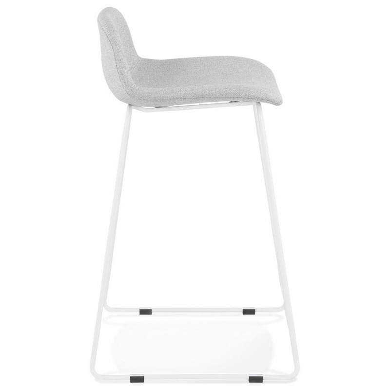 Tabouret de bar mi-hauteur en tissu pieds métal blanc CUTIE MINI (gris clair) - image 46417
