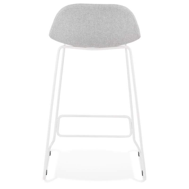 Tabouret de bar mi-hauteur en tissu pieds métal blanc CUTIE MINI (gris clair) - image 46419