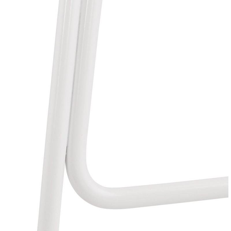 Tabouret de bar mi-hauteur en tissu pieds métal blanc CUTIE MINI (gris clair) - image 46423