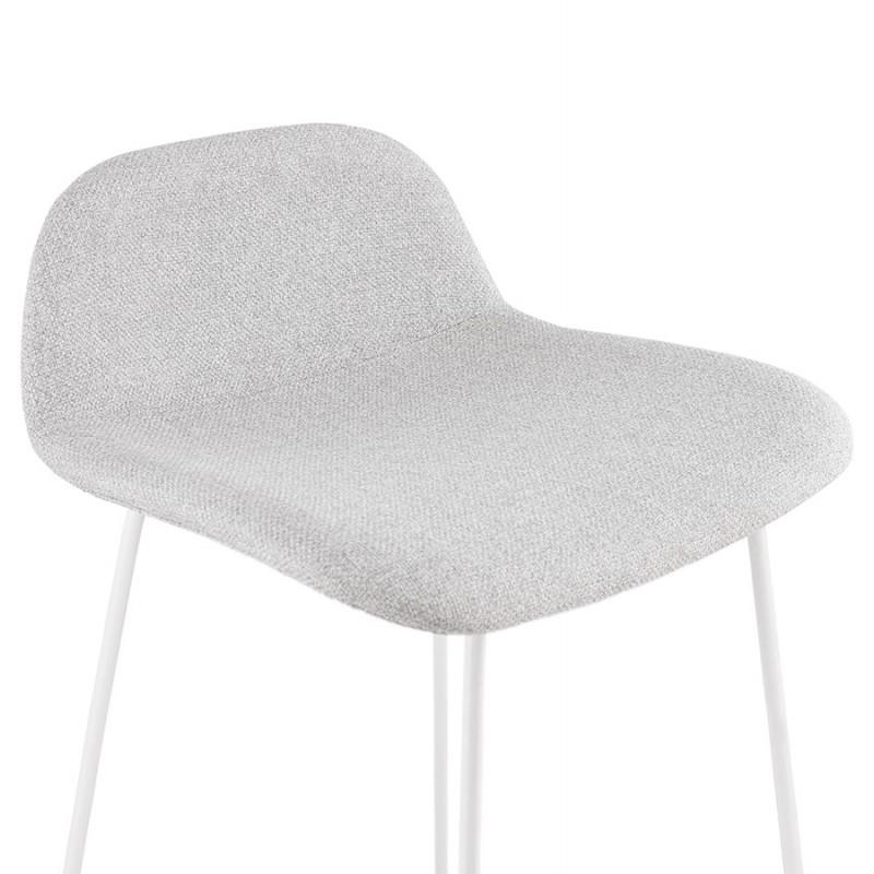 Tabouret de bar chaise de bar en tissu pieds métal blanc CUTIE (gris clair) - image 46430