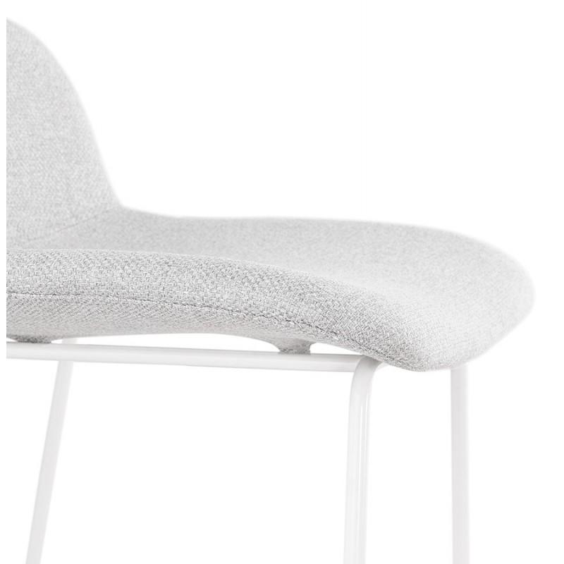 Tabouret de bar chaise de bar en tissu pieds métal blanc CUTIE (gris clair) - image 46431