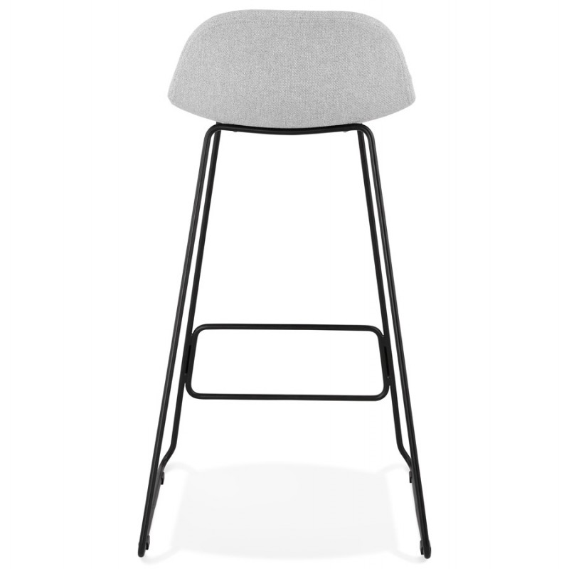 Tabouret de bar chaise de bar industriel en tissu pieds métal noir CUTIE (gris clair) - image 46451