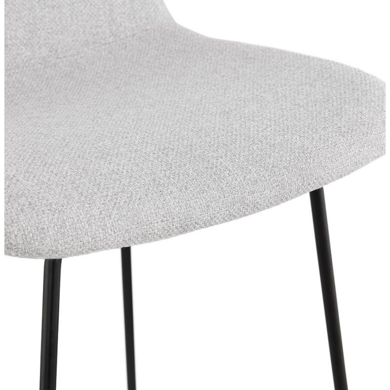 Tabouret de bar chaise de bar industriel en tissu pieds métal noir CUTIE (gris clair) - image 46453
