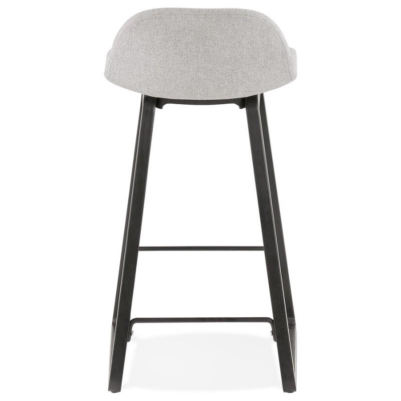 Tabouret de bar mi-hauteur industriel en tissu pieds bois noir MELODY MINI (gris clair) - image 46463