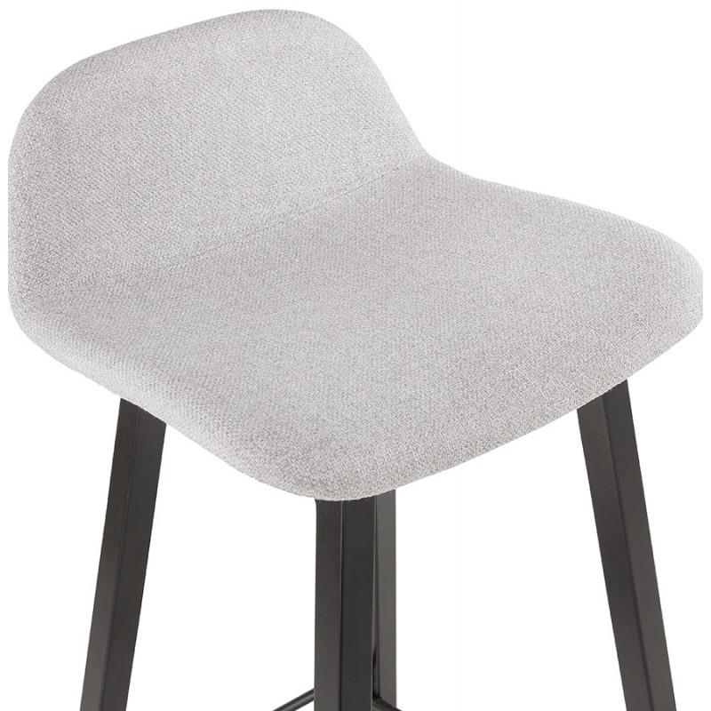 Tabouret de bar mi-hauteur industriel en tissu pieds bois noir MELODY MINI (gris clair) - image 46464