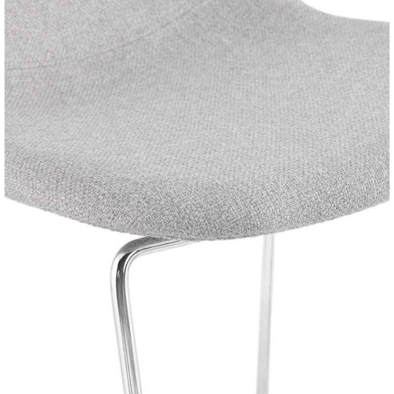 Tabouret de bar mi-hauteur scandinave empilable en tissu pieds métal chromé LOKUMA MINI (gris clair) - image 46490