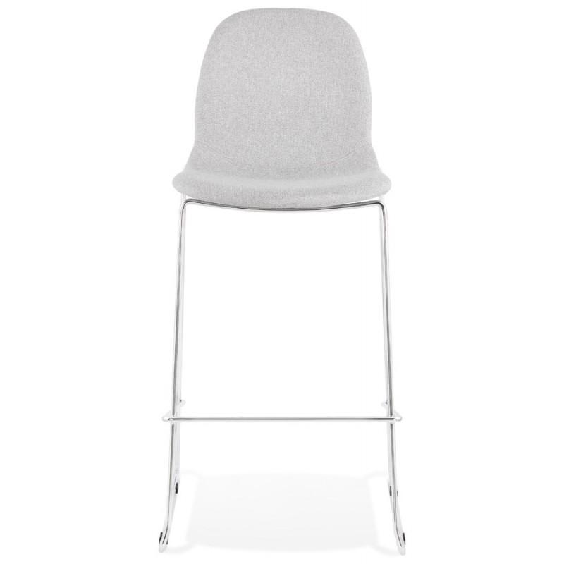 Tabouret de bar chaise de bar scandinave empilable en tissu pieds métal chromé LOKUMA (gris clair) - image 46500