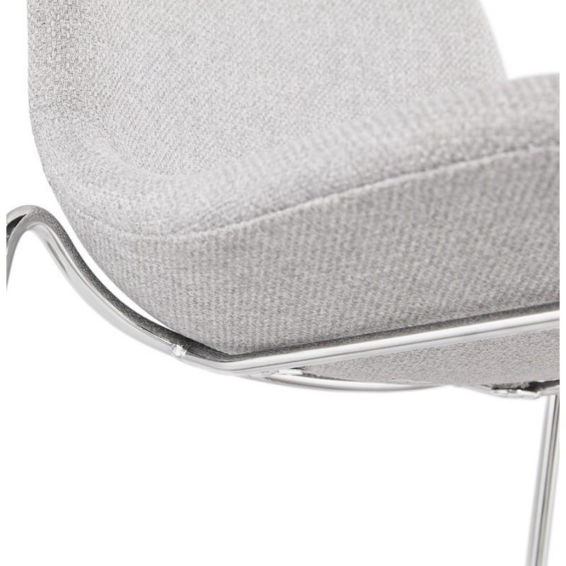 Tabouret de bar chaise de bar scandinave empilable en tissu pieds métal chromé LOKUMA (gris clair) - image 46507