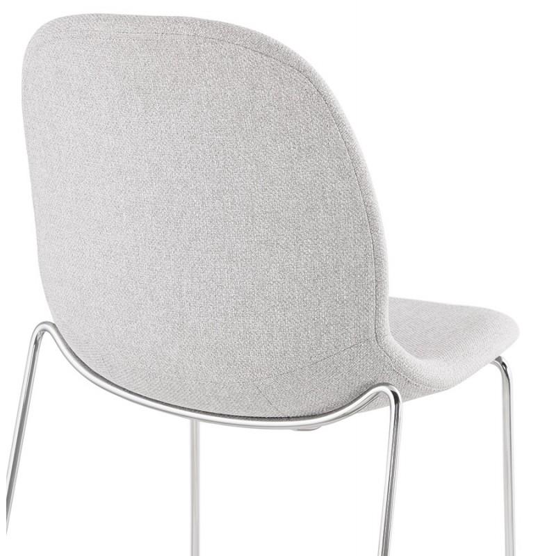 Tabouret de bar chaise de bar scandinave empilable en tissu pieds métal chromé LOKUMA (gris clair) - image 46508