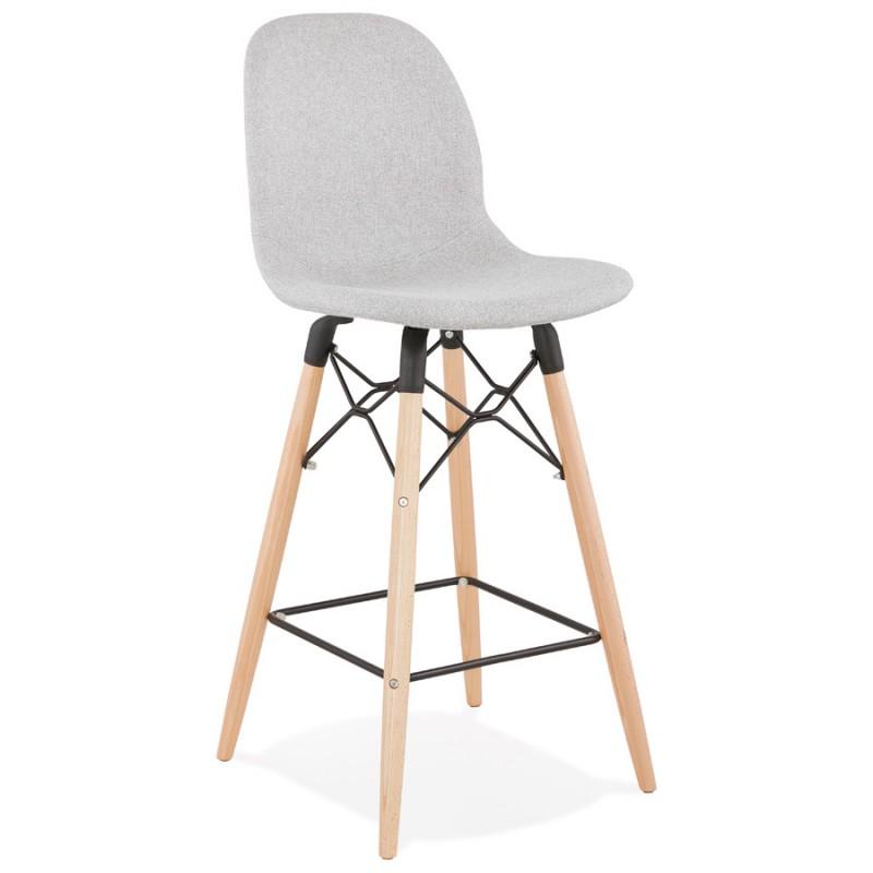 Tabouret de bar chaise de bar mi-hauteur scandinave en tissu PAOLO MINI (gris clair) - image 46514