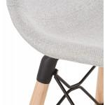 Tabouret de bar design scandinave en tissu PAOLO (gris clair)