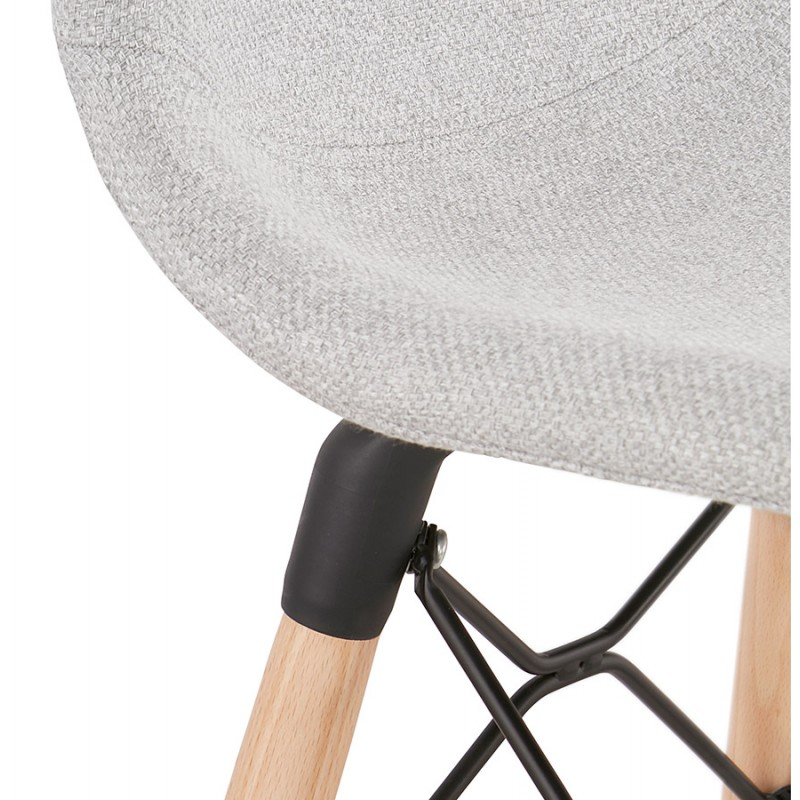 Tabouret de bar design scandinave en tissu PAOLO (gris clair) - image 46523