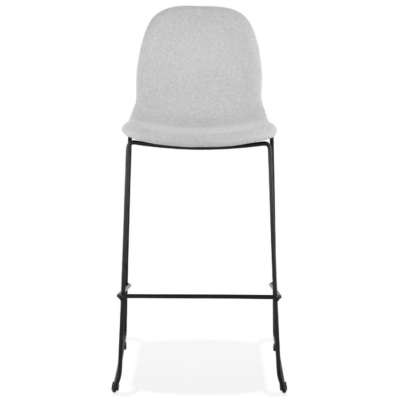 Tabouret de bar chaise de bar design empilable en tissu DOLY (gris clair) - image 46539