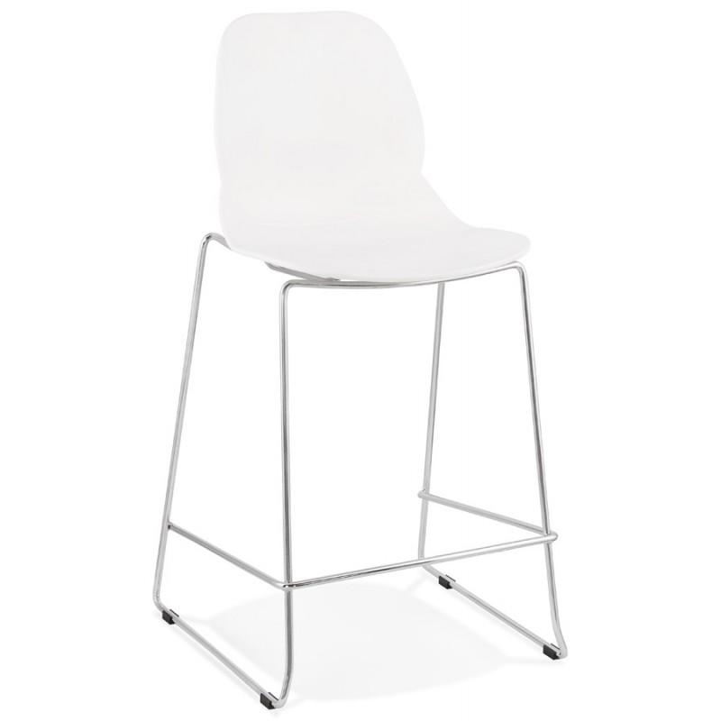 Tabouret de bar chaise de bar mi-hauteur design empilable JULIETTE MINI (blanc)