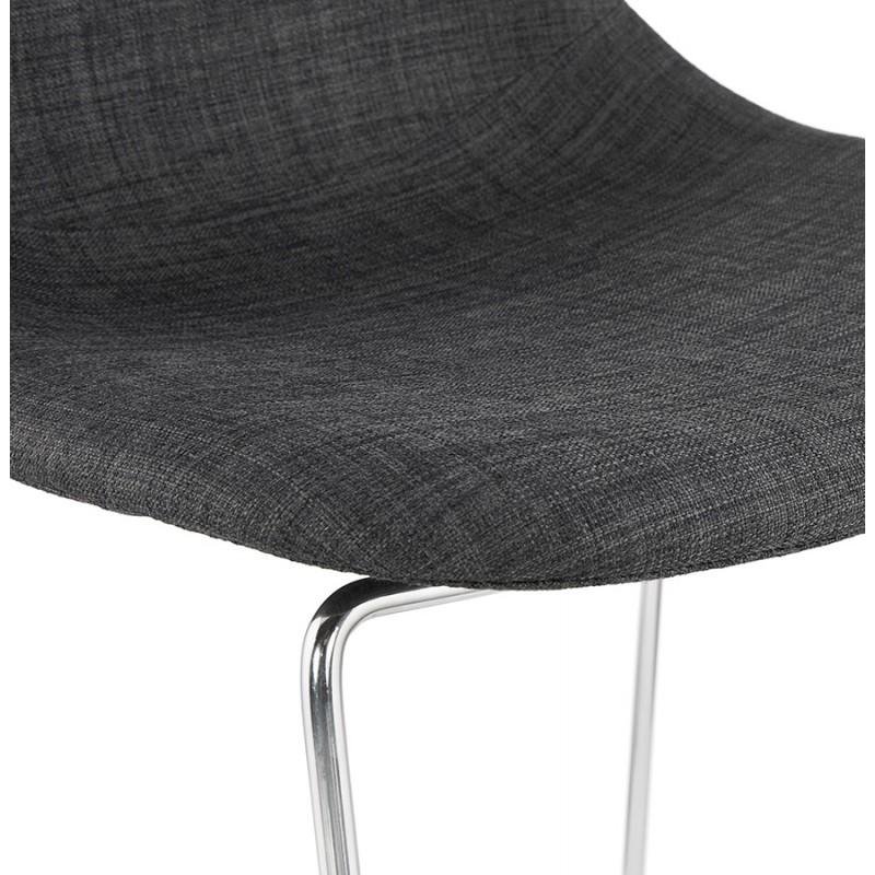 Tabouret de bar mi-hauteur scandinave empilable en tissu pieds métal chromé LOKUMA MINI (gris foncé) - image 46582