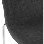 Tabouret de bar mi-hauteur scandinave empilable en tissu pieds métal chromé LOKUMA MINI (gris foncé)