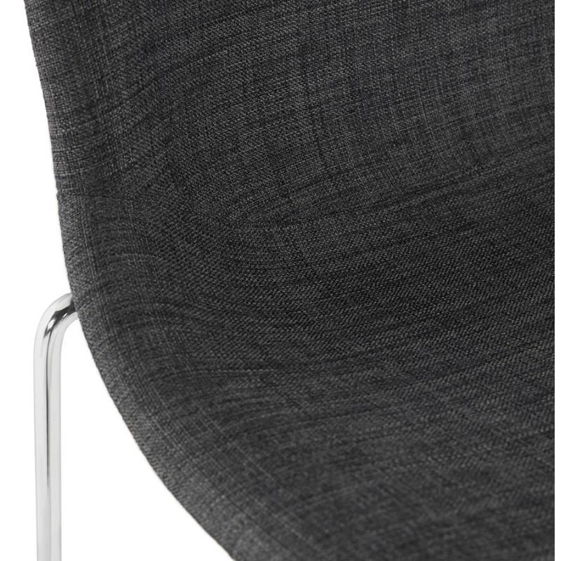 Tabouret de bar mi-hauteur scandinave empilable en tissu pieds métal chromé LOKUMA MINI (gris foncé) - image 46584