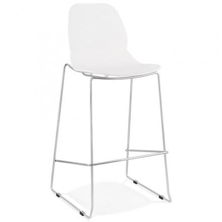 Taburete de bar apilable de diseño con patas de metal cromado JULIETTE (blanco)