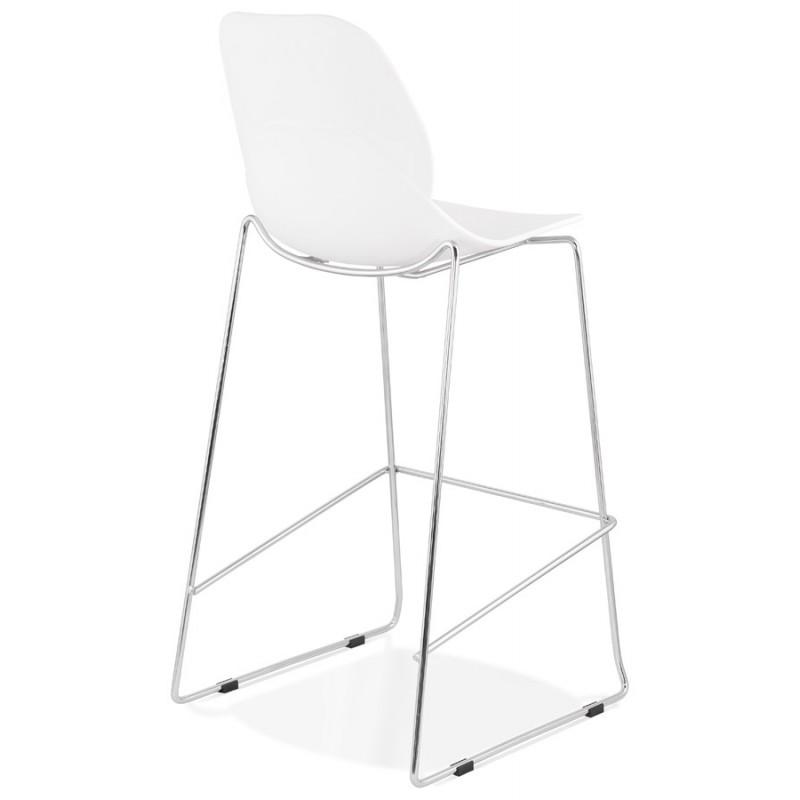 Tabouret de bar empilable design pieds métal chromé JULIETTE (blanc) - image 46592