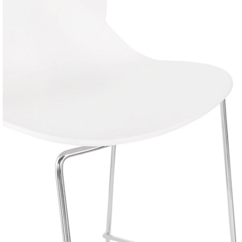 Tabouret de bar empilable design pieds métal chromé JULIETTE (blanc) - image 46595