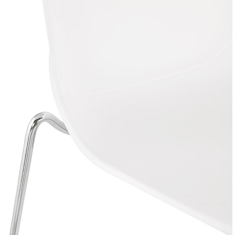 Tabouret de bar empilable design pieds métal chromé JULIETTE (blanc) - image 46596
