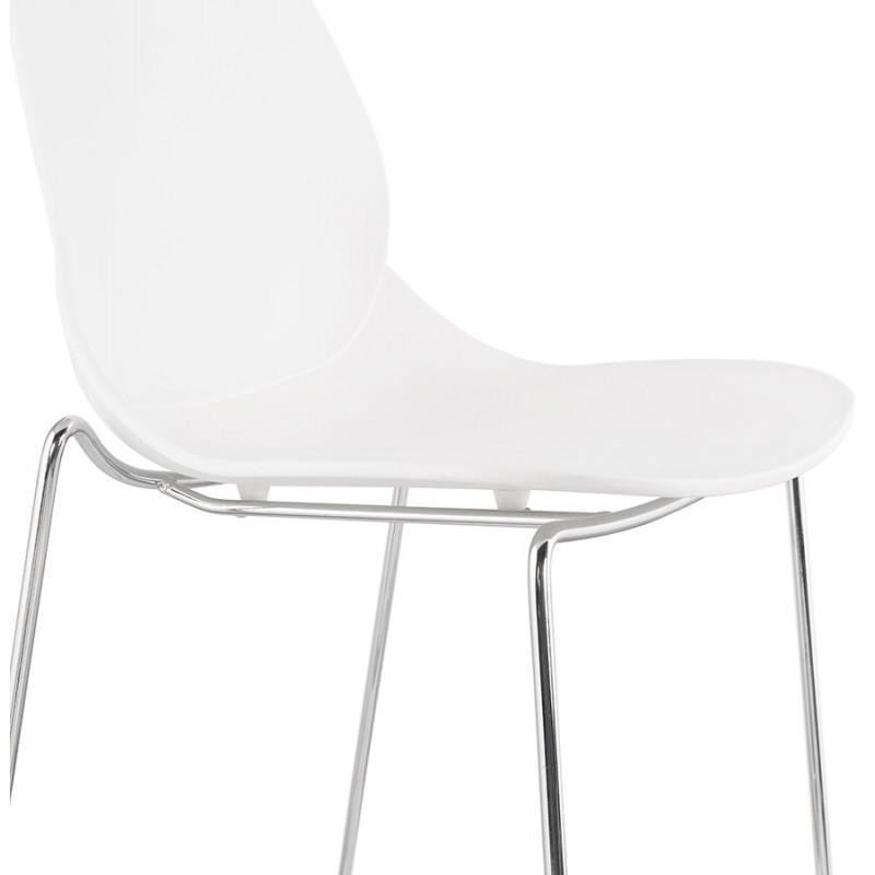 Tabouret de bar empilable design pieds métal chromé JULIETTE (blanc) - image 46597