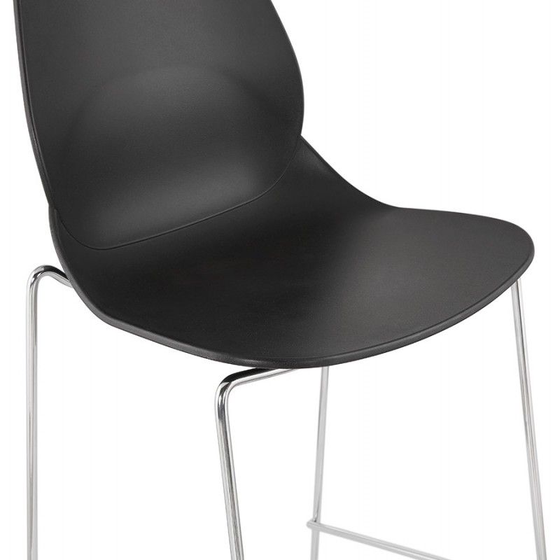 Stapelbarer Design Barhocker mit verchromten Metallbeinen JULIETTE (schwarz) - image 46608