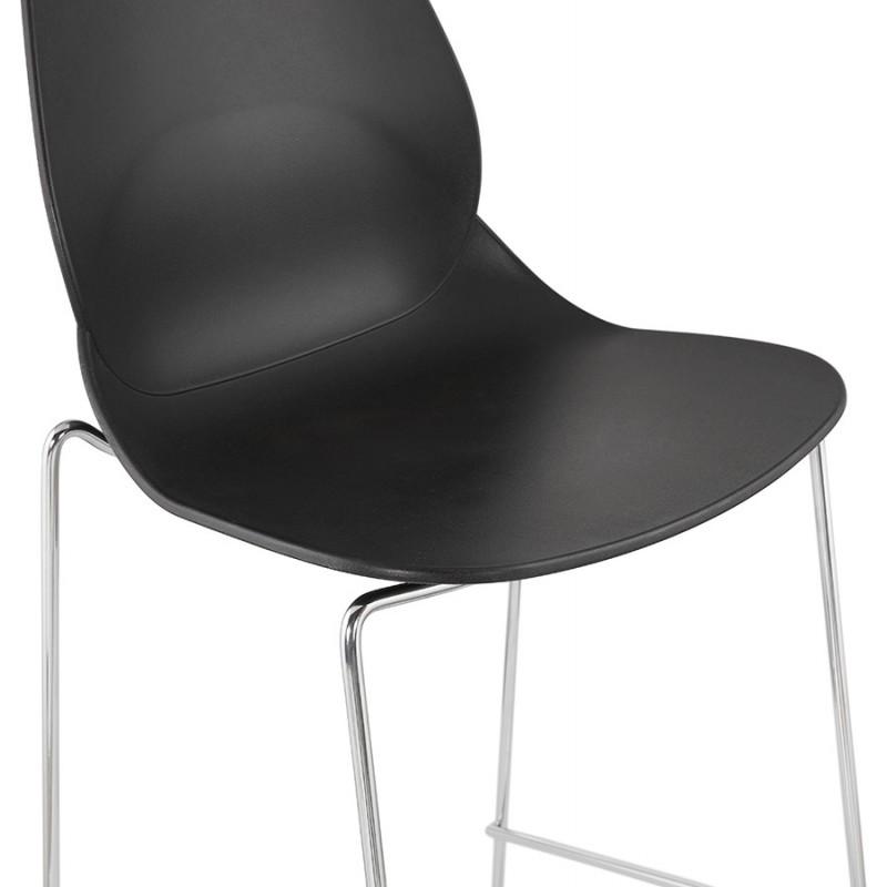 Design stackable bar stool with chromed metal legs JULIETTE (black) - image 46608