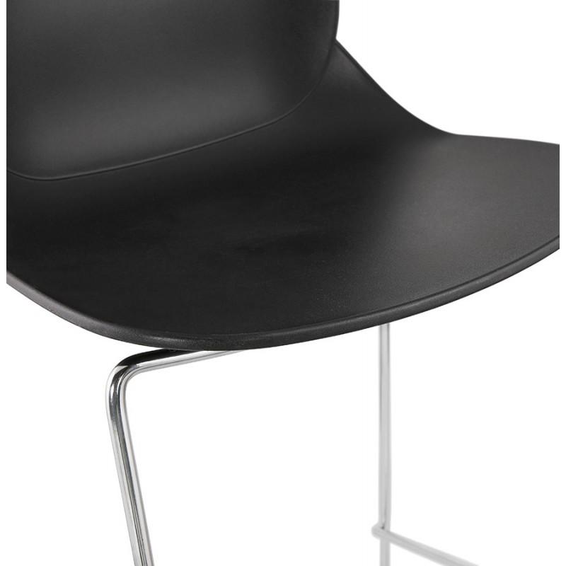 Design stackable bar stool with chromed metal legs JULIETTE (black) - image 46609