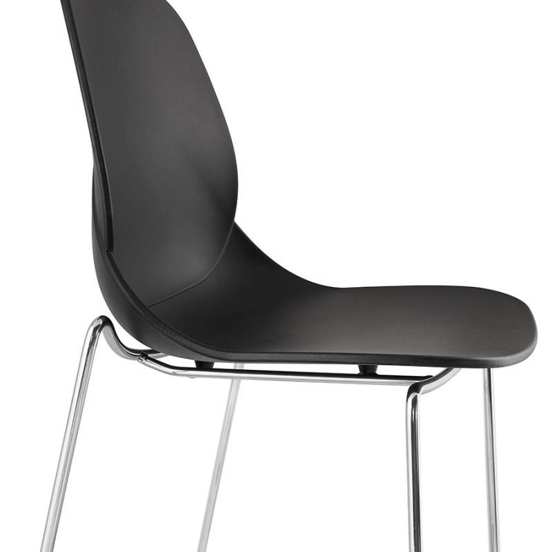 Tabouret de bar empilable design pieds métal chromé JULIETTE (noir) - image 46611