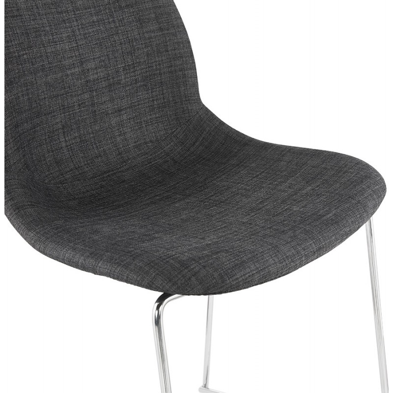 Scandinavian stackable bar chair bar stool in chromed metal fabric legs LOKUMA (dark gray) - image 46621