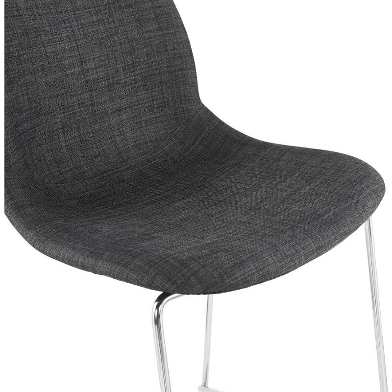 Tabouret de bar chaise de bar scandinave empilable en tissu pieds métal chromé LOKUMA (gris foncé) - image 46621