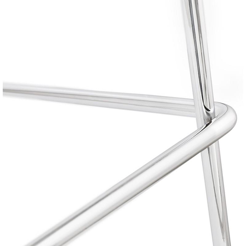 Tabouret de bar chaise de bar scandinave empilable en tissu pieds métal chromé LOKUMA (gris foncé) - image 46626